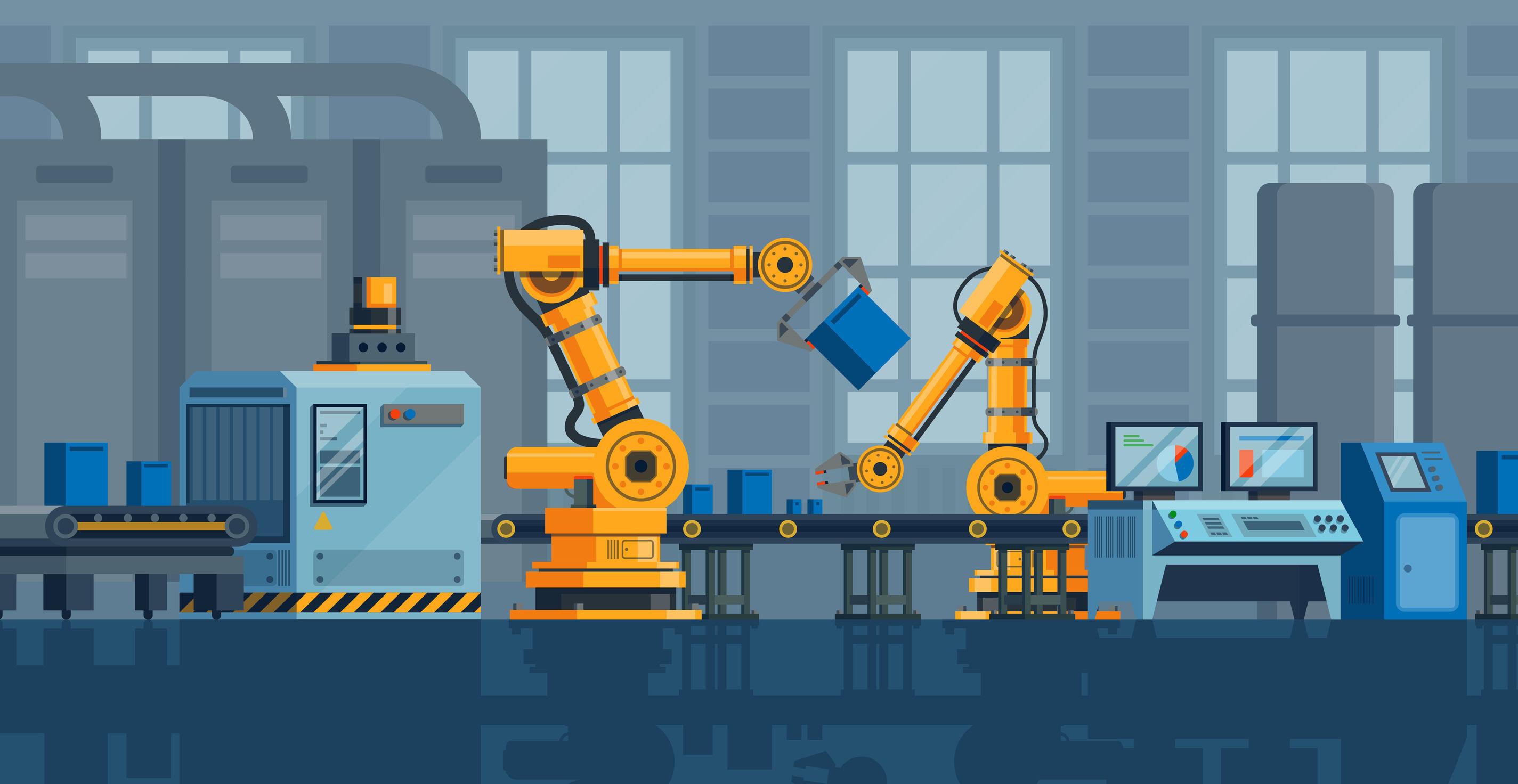Fließband mit zwei Roboterarmen im Cartoon-Stil